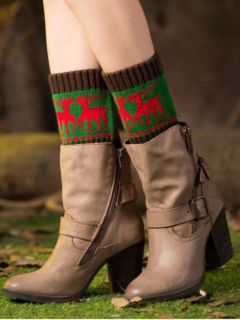 Weihnachten Deer Boot-Manschetten - Grün  Mobile