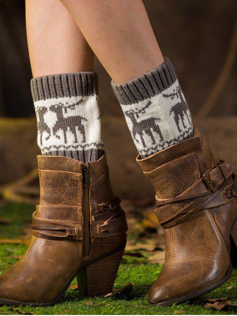 Poignets de bottes imprimées de cerfs de Noël - gris  Mobile