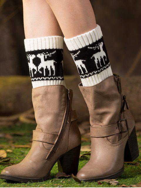 Poignets de bottes imprimées de cerfs de Noël - Blanc  Mobile