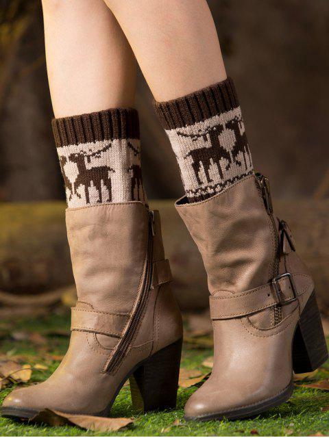 fancy Christmas Deer Boot Cuffs - ESPRESSO  Mobile