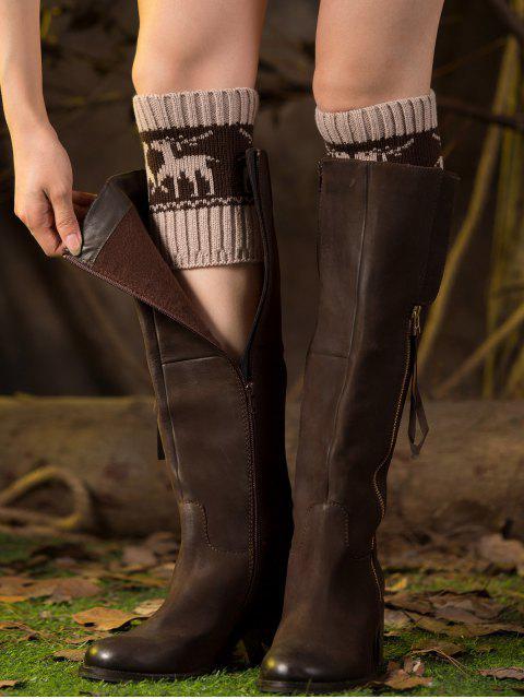 Weihnachten Deer Boot-Manschetten - Beige   Mobile