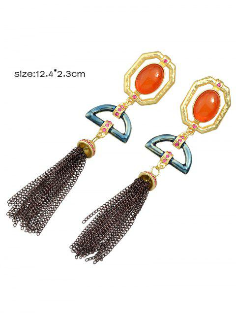 unique Artificial Gemstone Oval Tassel Chain Earrings -   Mobile