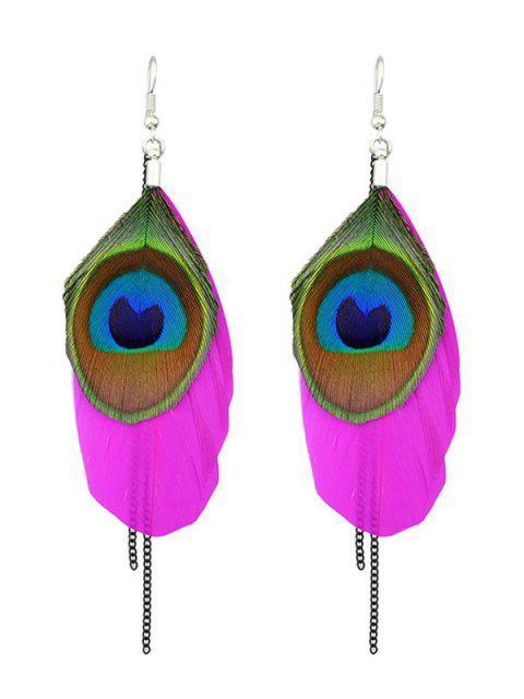 women Bohemian Style Peacock Feather Earrings -   Mobile