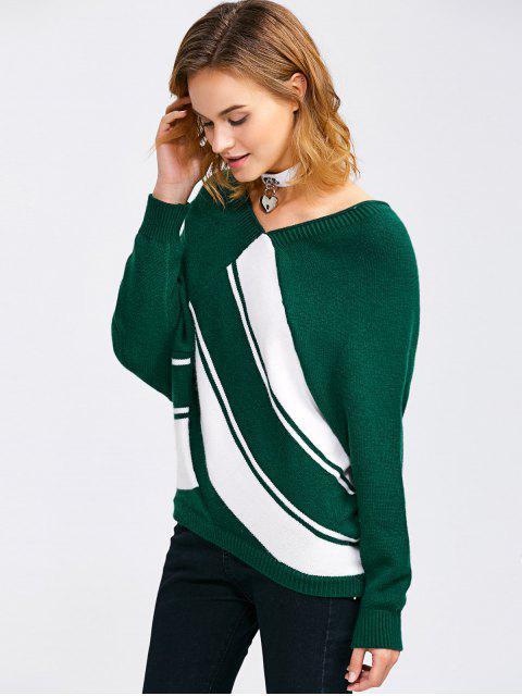 new Raglan Sleeve V Neck  Pullover Sweater - BLACKISH GREEN M Mobile
