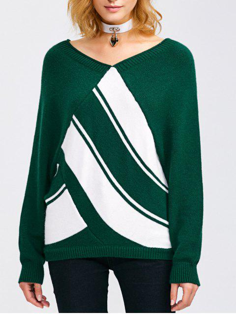 hot Raglan Sleeve V Neck  Pullover Sweater - BLACKISH GREEN S Mobile