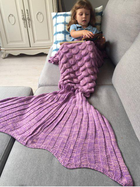 hot Knitted Mermaid Blanket for Kids - PINKISH PURPLE  Mobile
