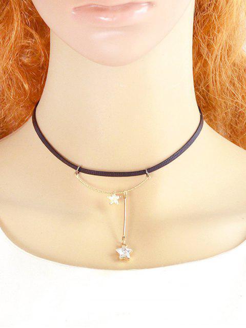 women Faux Leather Rhinestone Pentagram Necklace - WHITE  Mobile