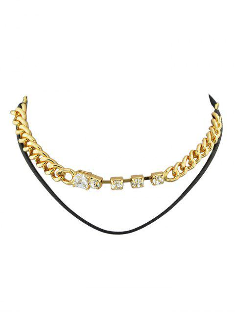 ladies Faux Leather Rhinestone Layered Necklace - GOLDEN  Mobile
