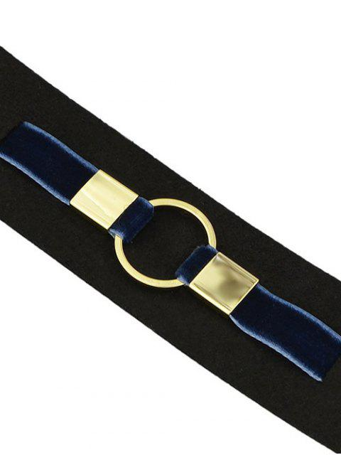 shops PU Leather Velvet Circle Choker Necklace - BLUE  Mobile