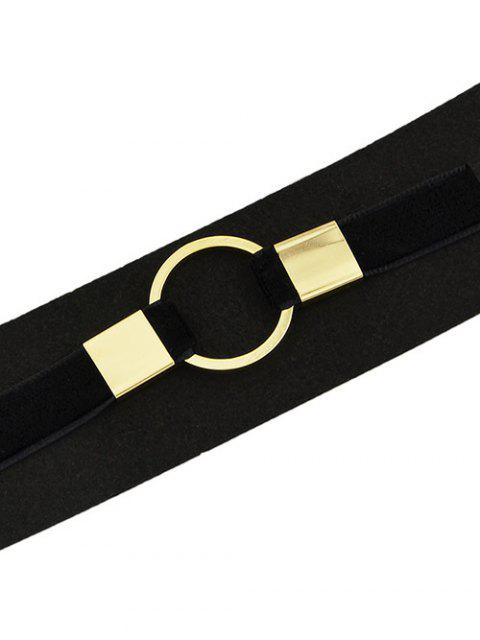 latest PU Leather Velvet Circle Choker Necklace -   Mobile