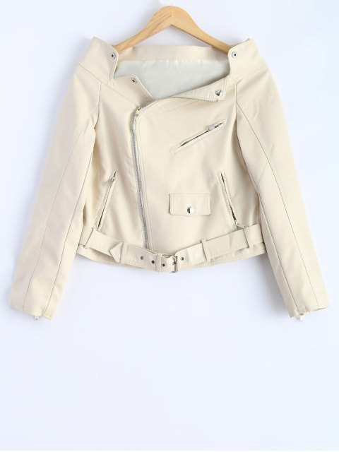 ladies Off Shoulder Zippered Biker Jacket - OFF-WHITE M Mobile