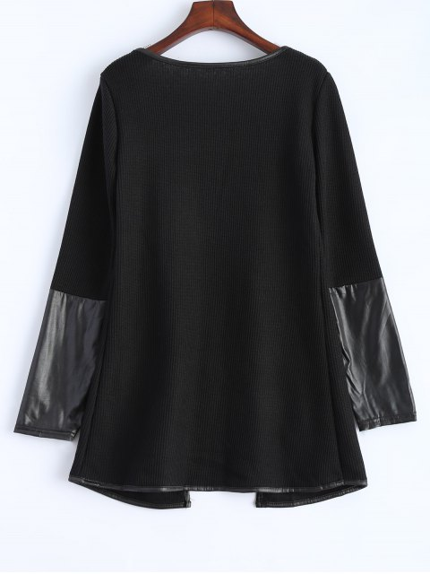 sale PU Leather Insert Long Sleeve Cardigan - BLACK M Mobile