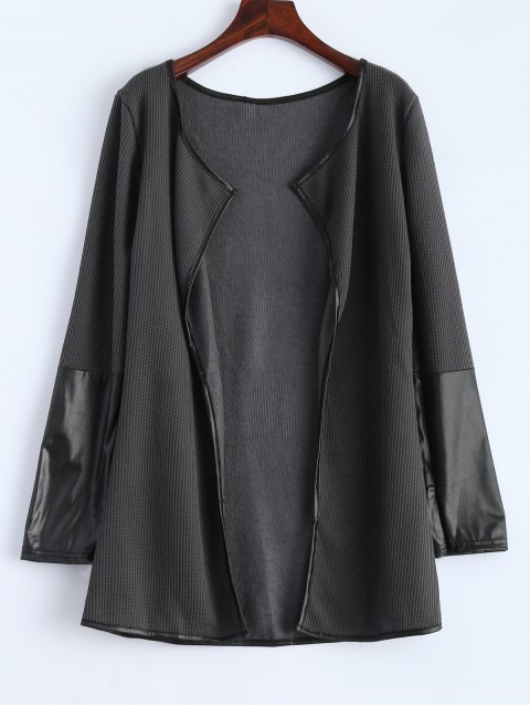 buy PU Leather Insert Long Sleeve Cardigan - DEEP GRAY XL Mobile