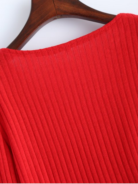 online Ribbed Knit Lace Up Jumper - RED S Mobile