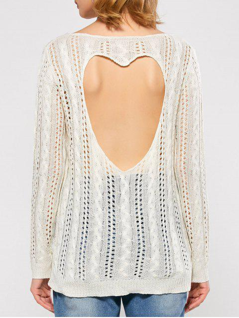 latest Heart Cutout Back Open Stitch Sweater - WHITE M Mobile