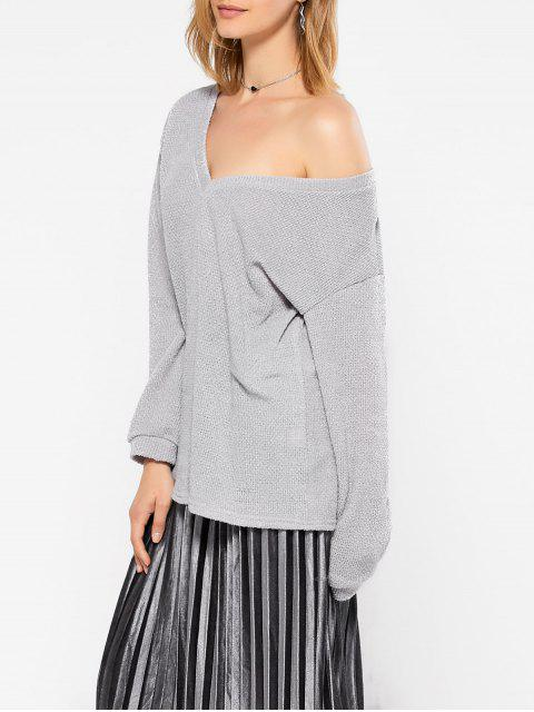 affordable Long Sleeve V Neck Jumper - GRAY L Mobile
