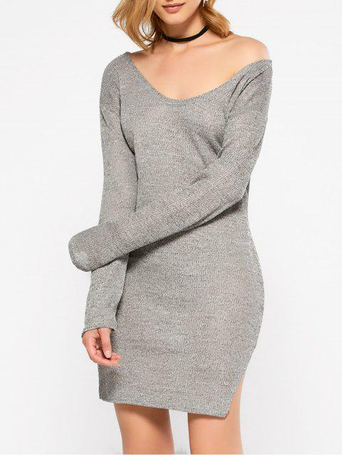 lady Side Slit V Neck Jumper Dress - GRAY M Mobile
