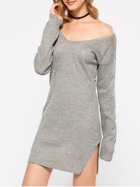 ladies Side Slit V Neck Jumper Dress - GRAY L Mobile