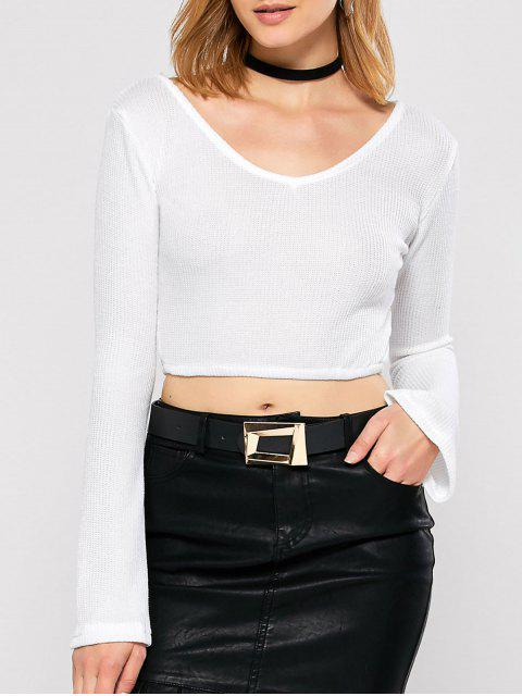 unique Bell Sleeve V Neck Cropped Sweater - WHITE S Mobile