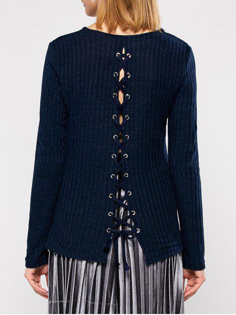 fancy Back Lace Up Sweater - PURPLISH BLUE M Mobile