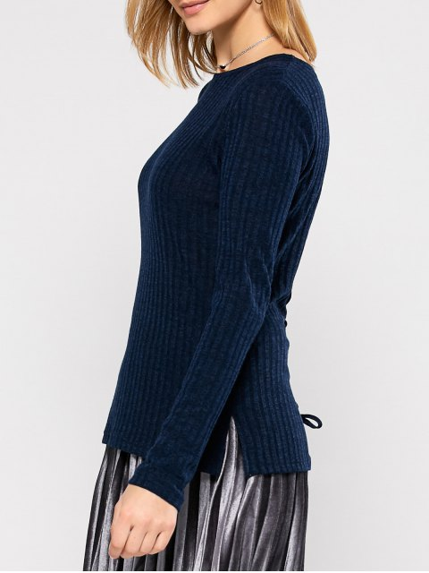 fashion Back Lace Up Sweater - PURPLISH BLUE XL Mobile