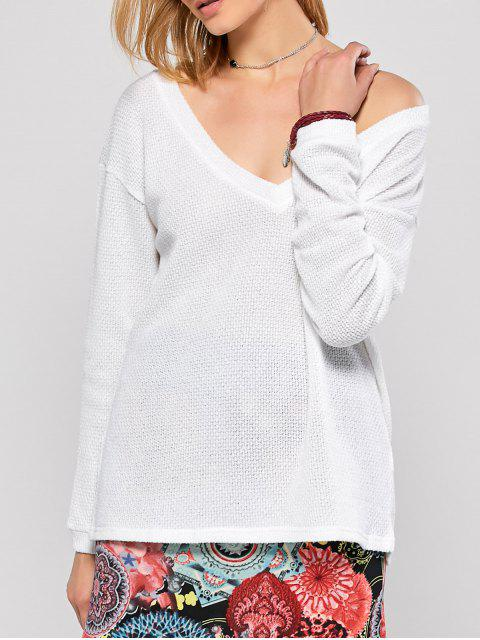 lady Long Sleeve V Neck Jumper - WHITE S Mobile