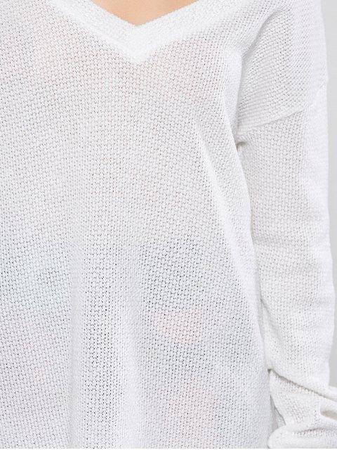 women's Long Sleeve V Neck Jumper - WHITE L Mobile