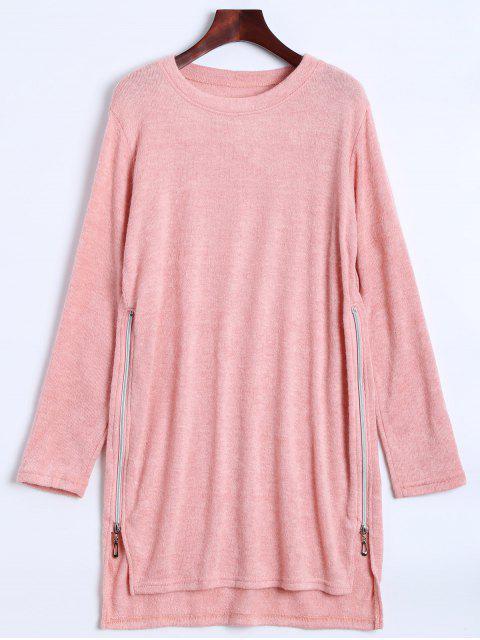 fancy Side Zipper Sweater Dress - PINK L Mobile