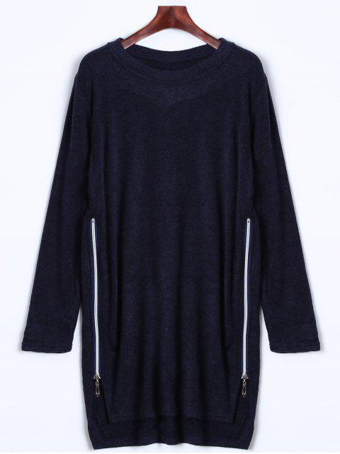 buy Side Zipper Sweater Dress - CADETBLUE L Mobile