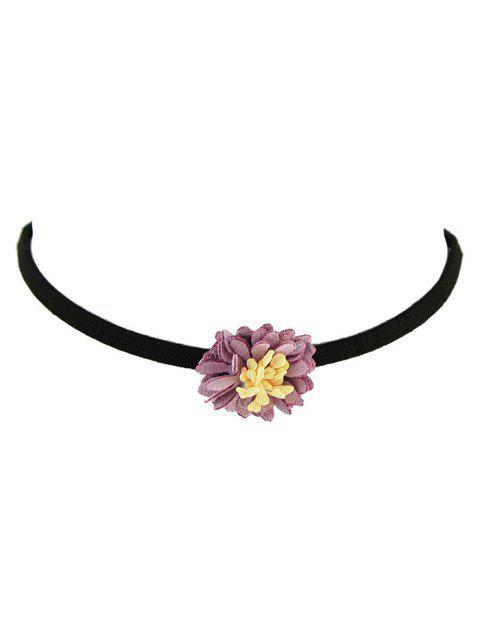 unique Artificial Leather Flower Velvet Choker Necklace - PURPLE  Mobile