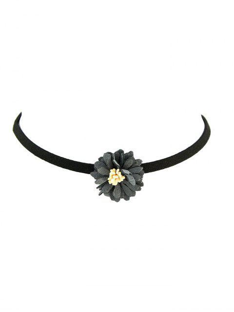 Collier de cuir artificiel velouté avec médaille de fleur - gris  Mobile