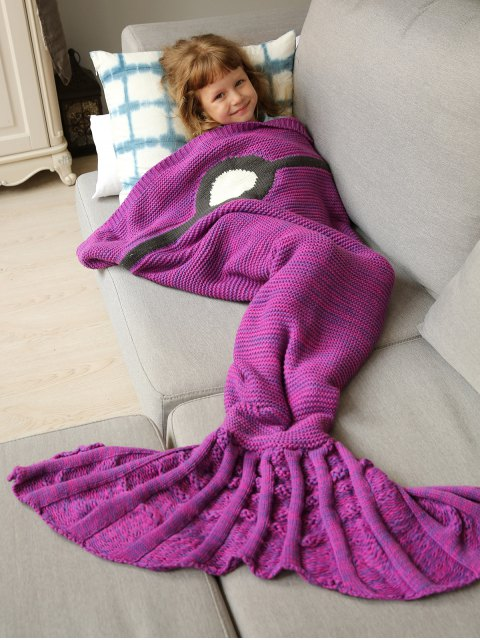 lady Knitted Sleeping Bag Mermaid Blanket - VIOLET ROSE  Mobile