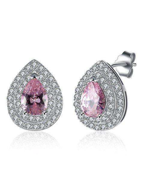 Clous d'oreilles ornés de diamant S925 en forme de goutte d'eau - ROSE PÂLE  Mobile