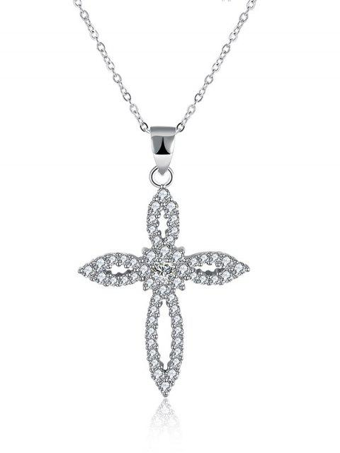 Collar de diamantes S925 Crucifijo Flor - Plata  Mobile