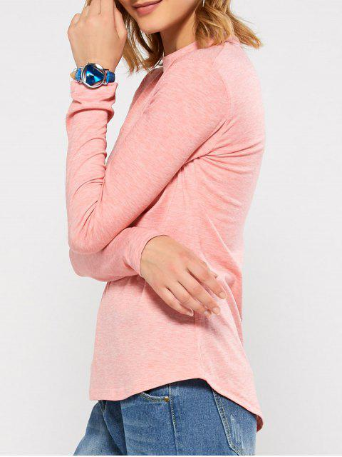 sale Cut Out Stand Neck Top - PINK XL Mobile