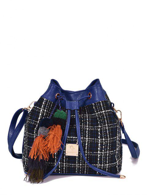 women's Tweed Drawstring Plaid Pattern Crossbody Bag - DEEP BLUE  Mobile