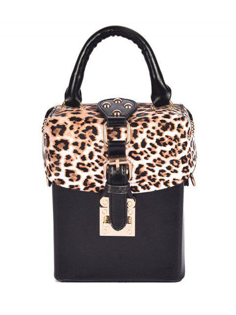 best Box Shape Leopard Print Buckle Crossbody Bag - BLACK  Mobile