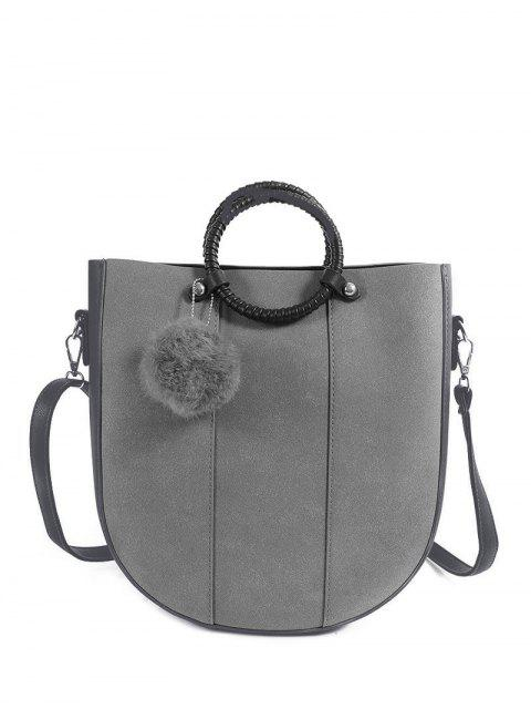 chic Pompon Metal PU Leather Tote Bag - GRAY  Mobile
