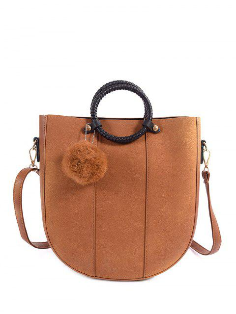 fancy Pompon Metal PU Leather Tote Bag - LIGHT BROWN  Mobile