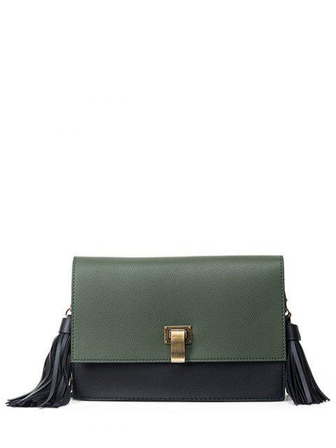 shops Chain Tassels Metal Crossbody Bag - ARMY GREEN  Mobile