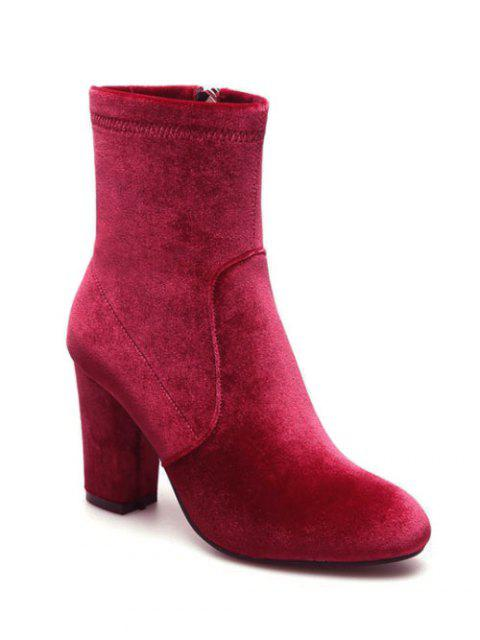 latest Chunky Heel Velvet Sock Boots - RED 39 Mobile