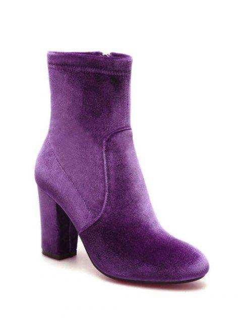 unique Chunky Heel Velvet Sock Boots - PURPLE 38 Mobile