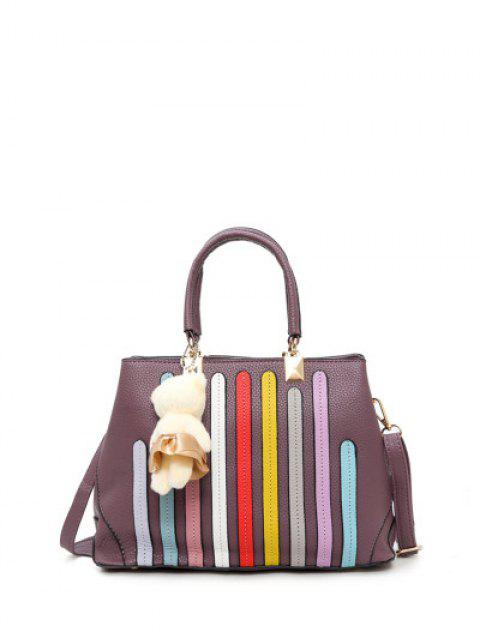 womens Striped Pattern Metal Colour Spliced Tote Bag - RUSSET-RED  Mobile