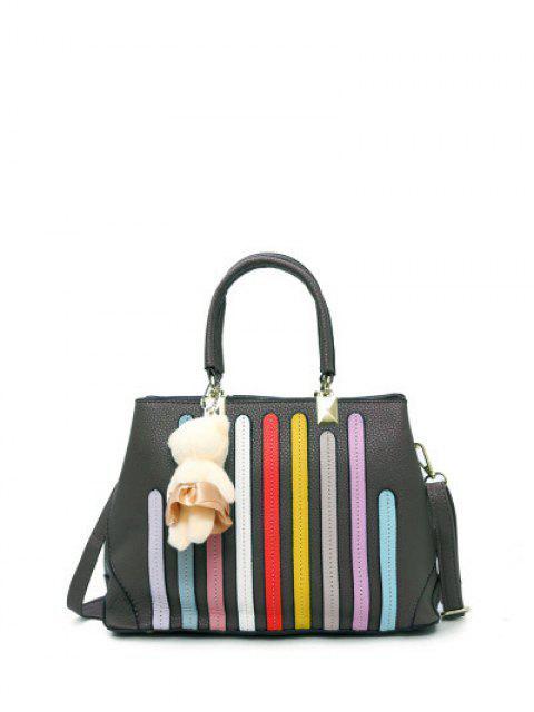 women Striped Pattern Metal Colour Spliced Tote Bag - GRAY  Mobile