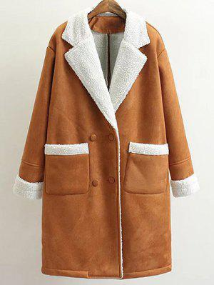Lapel Faux Shearling Pea Coat - Brown L