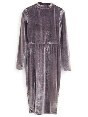 Vintage Velvet Slit Dress - Gray S