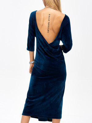 Robe En Velours à Dos Bu à Encolure Ronde - Bleu Foncé