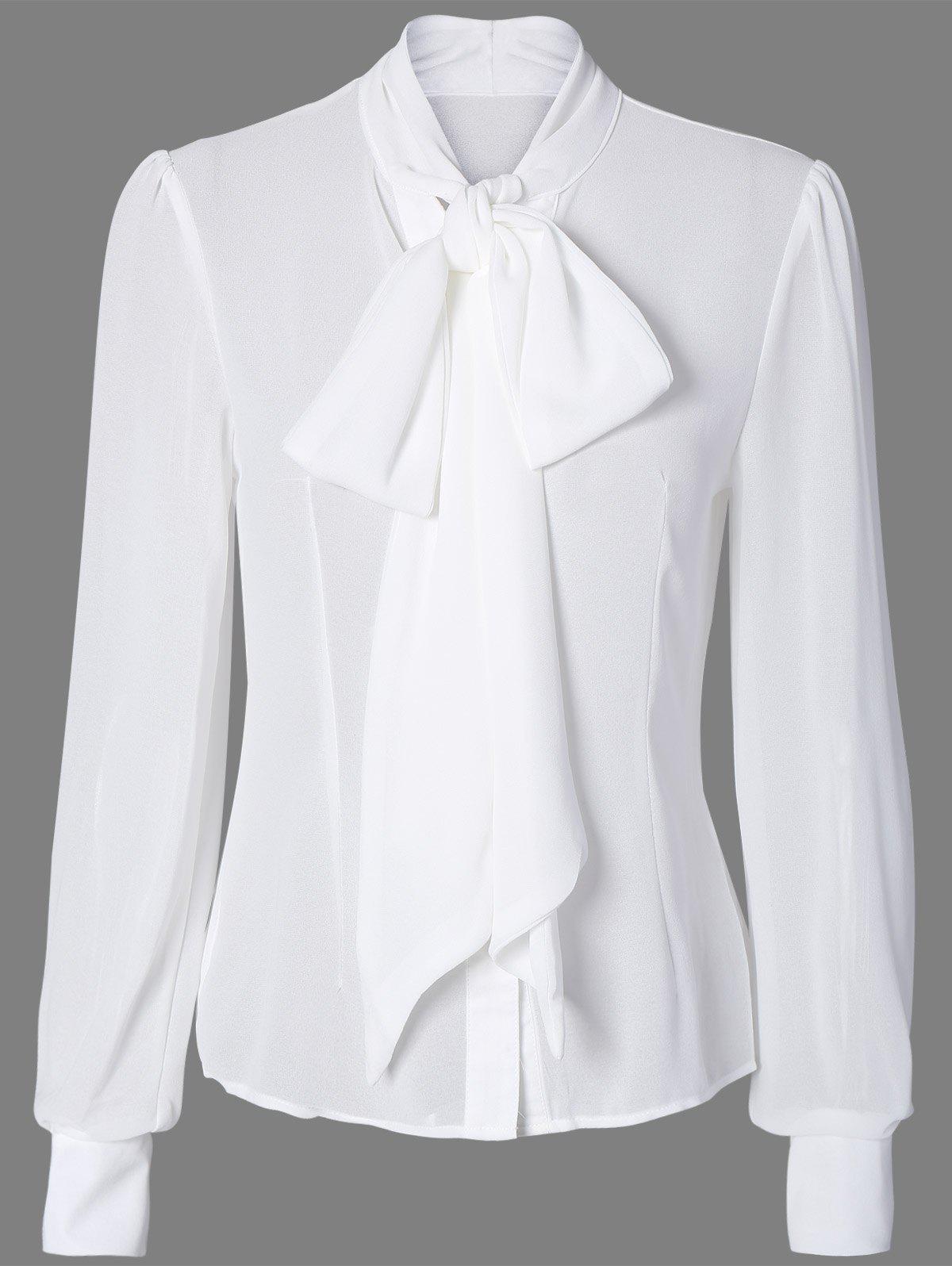 Tie Neck Sheer Bluse