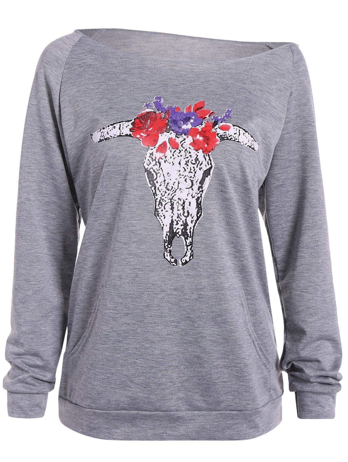 Sweat-shirt imprimé d'animal à col aligné