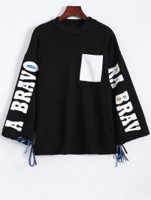 La Camiseta De La Raja Del Lado Gráfico - Negro